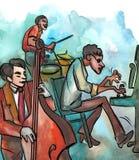 Jazzowy pianista, basista i dobosz, ilustracja wektor