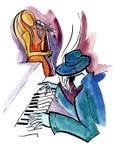 Jazzowy pianista i żeński piosenkarz ilustracja wektor