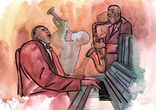 Jazzowy pianista, saksofonista i trąbkarz, royalty ilustracja