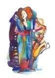 Jazzowy piosenkarz i saksofonista ilustracja wektor