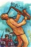 Jazzowy saksofonista i dobosz ilustracji