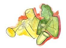 Jazzowy saksofonista i trąbkarz ilustracja wektor