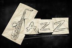 Jazzowy sztuka papier na blackboard Obraz Royalty Free