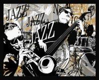 Jazzowy zespół na grunge tle ilustracja wektor