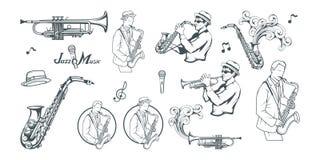 Jazzreeks Saxofoonspeler Het van letters voorzien met een microfoon Silhouet van een musicus royalty-vrije illustratie