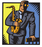 Jazzsaxofonist vektor illustrationer