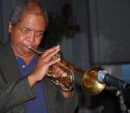 jazzspelaretrumpet Arkivbild