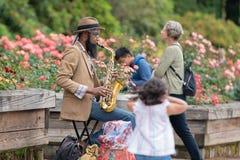 Jazzspeler in het park royalty-vrije stock fotografie