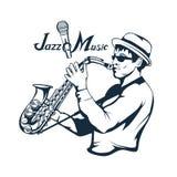 Jazzspeler met saxofoon Saxofoonspeler Het van letters voorzien met een microfoon Silhouet van een musicus stock illustratie