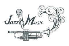 Jazzspeler met saxofoon Saxofoonspeler Het van letters voorzien met een microfoon Silhouet van een musicus royalty-vrije illustratie