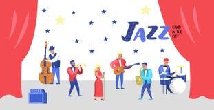 Jazzu Koncertowy plakat, sztandar Muzyczni charaktery, instrumenty muzyczni, muzycy i piosenkarzów artyści, ilustracji