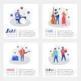 Jazzu Koncertowy plakat, sztandar Muzyczni charaktery, instrumenty muzyczni, muzycy i piosenkarzów artyści, Kontrabasista ilustracja wektor