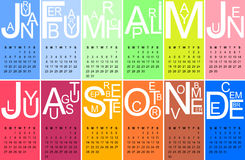 Jazzy 2014. Colorful jazzy 2014 calendar, vector Stock Image
