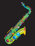 Jazzy colorful music background. With an abstract sax Royalty Free Stock Images