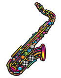 Jazzy colorful music background. With an abstract sax Royalty Free Stock Photo