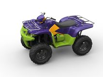 Jazzy purple green quad bike. Isolated on white background Royalty Free Stock Photo