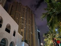 JBR, Jumeirah Beach Resort at night, a new tourist attraction and residential skyscrapers area in Dubai, United Arab Emirates stock images