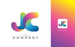 JC de Mooie Kleuren van Logo Letter With Rainbow Vibrant Kleurrijk t Royalty-vrije Stock Afbeelding