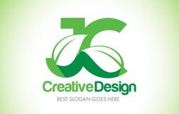 JC Green Leaf Letter Design Logo. Eco Bio Leaf Letter Icon Illus Stock Image