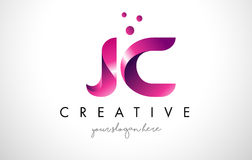 JC Letter Logo Design with Purple Colors and Dots. JC Letter Logo Design Template with Purple Colors and Dots Stock Photo