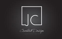 JC Square Frame Letter Logo Design with Black and White Colors. JC Square Framed Letter Logo Design Vector with Black and White Colors stock illustration