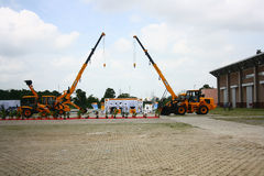 JCB Construction Equipments Stall at HITEX Expo Royalty Free Stock Image