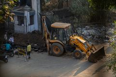 Jcb excavators on road working royalty free stock photos