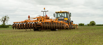 JCB fastrac tractor with cultipress Royalty Free Stock Image