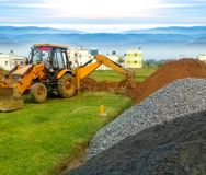 JCB working in building contraction Royalty Free Stock Images