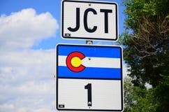 JCT med Colorado statlig huvudväg 1 Arkivbilder