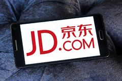 JD.com logo. Logo of JD.com on samsung mobile. JD.com is a Chinese e-commerce company. It is one of the two largest B2C online retailers in China by transaction royalty free stock photography
