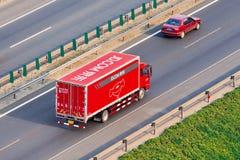 JD COM troquent sur l'autoroute urbaine, Pékin, Chine Photo libre de droits