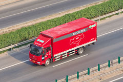 JD.com truck on the expressway, Beijing, China Royalty Free Stock Image