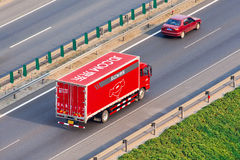 JD.com truck on the expressway, Beijing, China Royalty Free Stock Photo