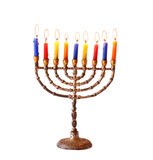 Jüdischer Feiertag Chanukka-Hintergrund mit menorah brennenden Kerzen lokalisiert auf Weiß Stockbilder