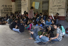JDU student sit-in in front of VC office. Royalty Free Stock Images
