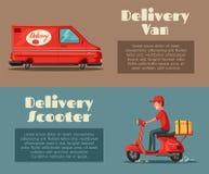 Jeûnez et libérez la livraison Illustration de dessin animé de vecteur Service de traiteur Scooter et fourgon Image stock