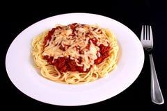 jeść spaghetti Obrazy Royalty Free