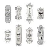Jeździć na deskorolce i longboards czerń & szary straszny kreskówka wektoru set ilustracja wektor