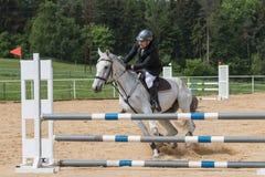Jeździec ćwiczy krnąbrnego białego konia Obrazy Royalty Free