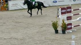 Jeździec i koń przy przedstawienia doskakiwaniem na equestrian wydarzeniu zbiory wideo