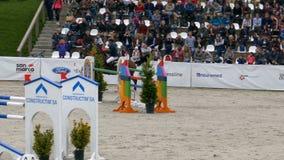 Jeździec i koń przy przedstawienia doskakiwaniem na equestrian wydarzeniu zdjęcie wideo