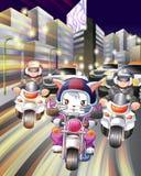 Jeździec policja w mieście noc i kot royalty ilustracja