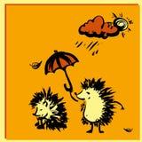 Jeż trzyma parasol nad innym jeża deszczem ilustracji