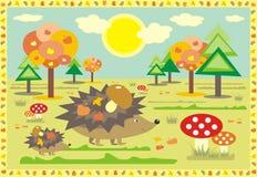 Jeże na spacerze przy pogodnym jesień dzień Zdjęcia Stock