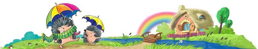 Jeże po deszczu wracali do domu royalty ilustracja