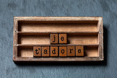 Je τ ` adore Σας αγαπώ adore στη γαλλική μετάφραση Εκλεκτής ποιότητας κιβώτιο, ξύλινη φράση κύβων που γράφεται με τις παλαιές επι στοκ εικόνα
