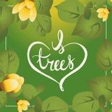 Je carte postale handlettering de calligraphie de journée de l'arbre d'arbres d'amour Photo stock