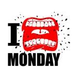 Je déteste lundi symbole de cri de haine et d'antipathie Ouvrez la bouche illustration libre de droits