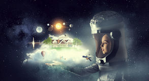 Je deviendrai astronaute et mouche à l'espace Media mélangé image libre de droits